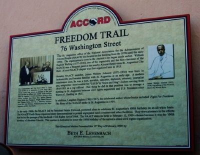Freedom Trail Marker, 76 Washington Street, St. Augustine, FL image. Click for full size.