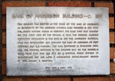 Bank of Anderson Building - ca. 1891 Marker image. Click for full size.