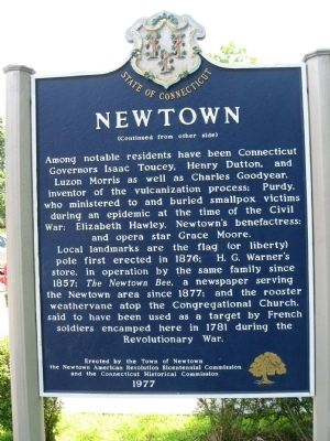 Newtown Marker (back) image. Click for full size.