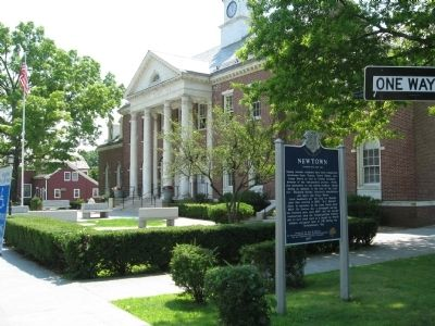 Newtown Marker in front of Edmund Town Hall image. Click for full size.
