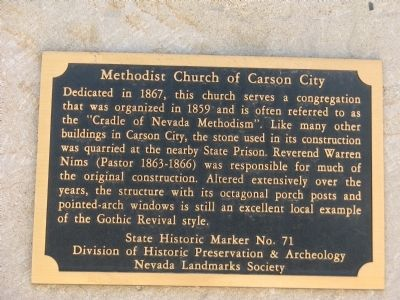 Methodist Church of Carson City Marker image. Click for full size.