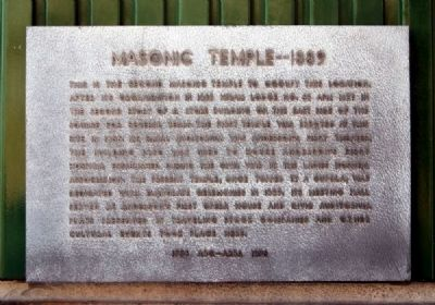 Masonic Temple -- 1889 Marker image. Click for full size.