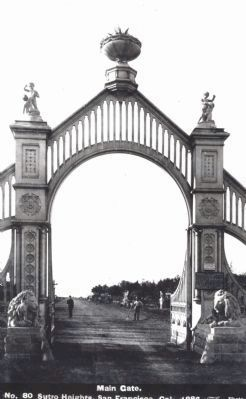 Entrance Gate to Sutro Heights, with Lions, 1886 image. Click for full size.