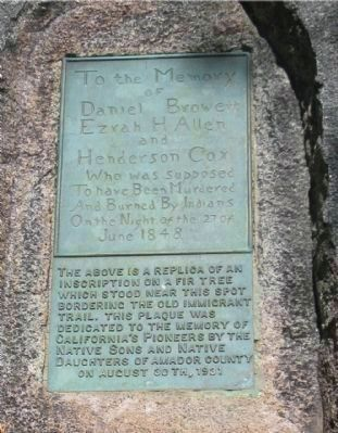 Plaque Embedded in Granite Rock Near Gravesite image. Click for full size.