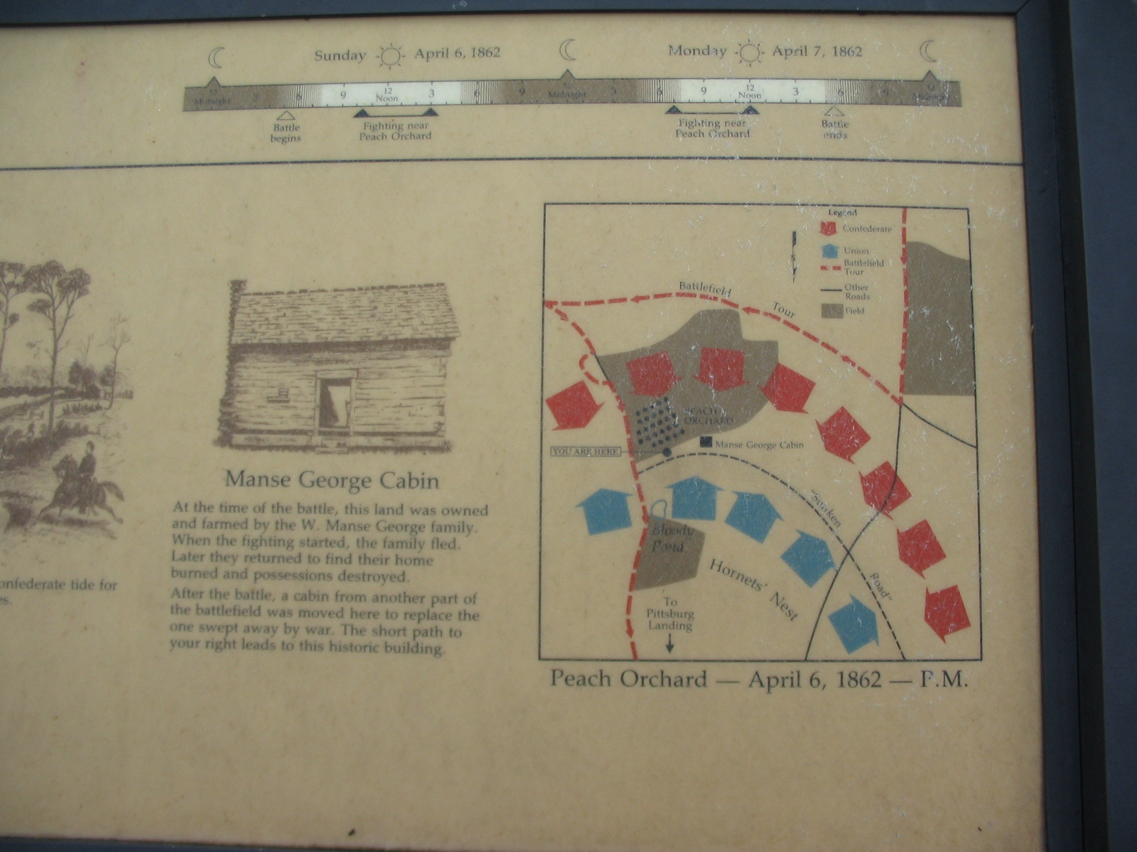 Close Up of Map, Timeline, and Cabin Drawing