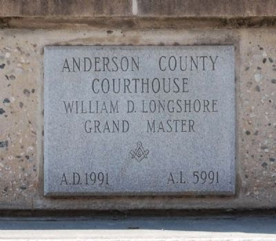 Anderson County Court House Cornerstone -<br>Located on Northwest Corner image. Click for full size.