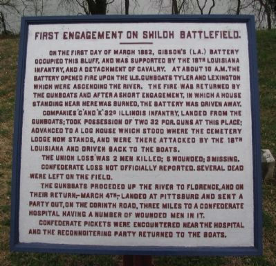 First Engagement on Shiloh Battlefield Tablet image. Click for full size.