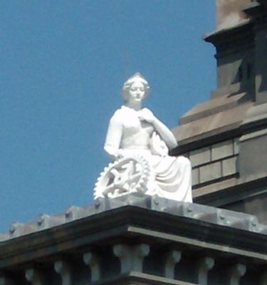 Statue top of Clinton County Courthouse image. Click for full size.