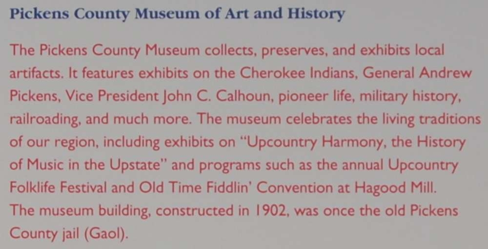The Pickens County Museum Marker -<br>Pickens County Museum of Art and History