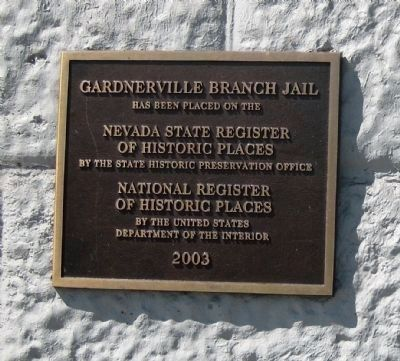 Gardnerville Branch Jail Historic Registers Marker mounted next to the historic marker image. Click for full size.