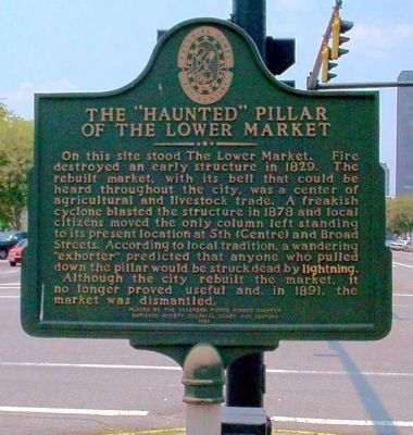 "The ""Haunted"" Pillar of the Lower Market Marker image. Click for full size."