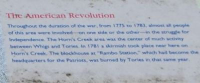 Horn's Creek Church Marker - The American Revolution image. Click for full size.