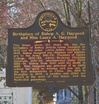 Birthplace of Bishop A. G. Haygood and Miss Laura A. Haygood Marker image. Click for full size.