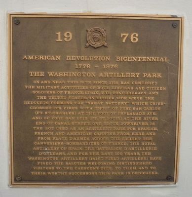 Washington Artillery Park Marker - Panel 1 image. Click for full size.