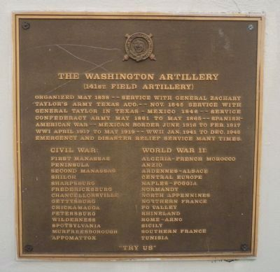 Washington Artillery Park Marker - Panel 2 image. Click for full size.