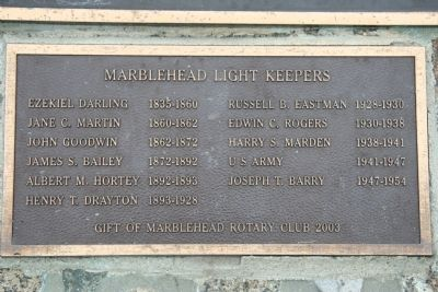 Marblehead Light Keepers Marker image. Click for full size.