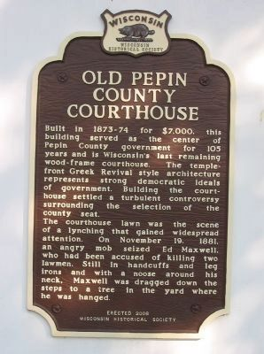 Old Pepin County Courthouse Marker image. Click for full size.