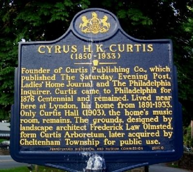 Cyrus H. K. Hurtis Marker image. Click for full size.