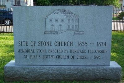 Site of Stone Church 1835-1874 Marker image. Click for full size.