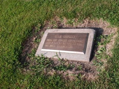 Time Capsule Plaque to Left of Flag Pole... image. Click for full size.