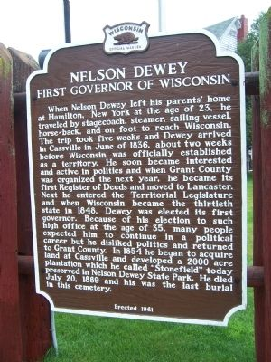 Nelson Dewey, First Governor of Wisconsin Marker image. Click for full size.