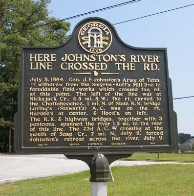 Here Johnston's River Line Crossed the Road Marker image. Click for full size.