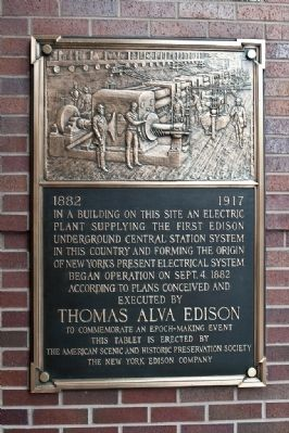 Edison Underground Central Station System Marker image. Click for full size.