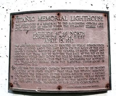 Titanic Memorial Lighthouse Marker image. Click for full size.