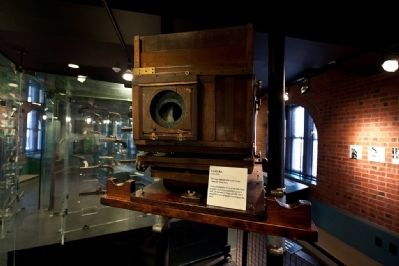 "Display of early 1900's era camera used to take ""mug shots"" image. Click for full size."