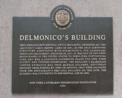 DelMonico's Building Marker image. Click for full size.