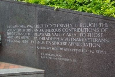 Philadelphia Vietnam Veterans Memorial Sponsors image. Click for full size.