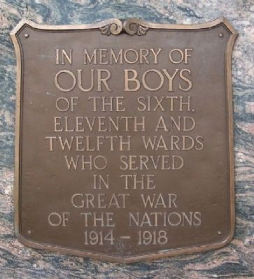 Sixth, Eleventh and Twelfth Wards World War I Memorial image. Click for full size.