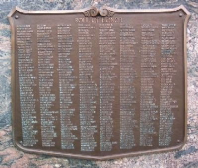 Sixth, Eleventh and Twelfth Wards World War I Memorial Roll of Honor M-Z Panel image. Click for full size.