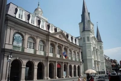 The Cabildo, adjacent to St. Louis Cathedral with the Presbytère at far right image. Click for full size.