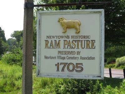 Newtown's Historic Ram Pasture Marker image. Click for full size.