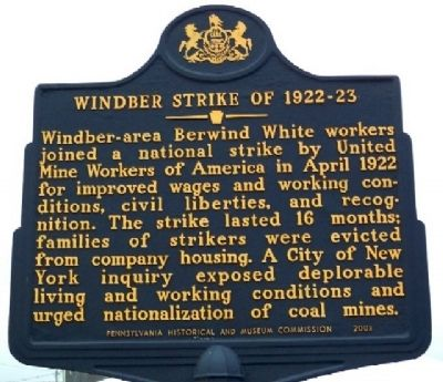 Windber Strike of 1922-23 Marker image. Click for full size.