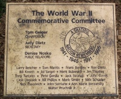 Windber Veteran's Park WWII Committee Marker image. Click for full size.