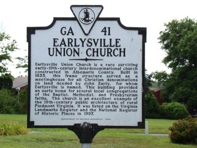 Earlysville Union Church Marker image. Click for full size.