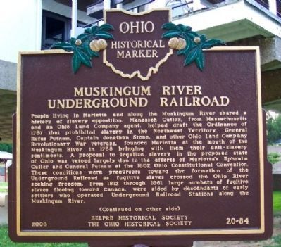 Muskingum River Underground Railroad Marker (Side A) image. Click for full size.