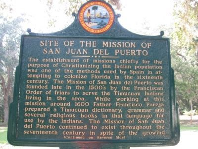 Site of the Mission of San Juan del Puerto Marker image. Click for full size.
