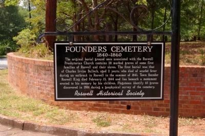 Sign at Founders Cemetery image. Click for full size.