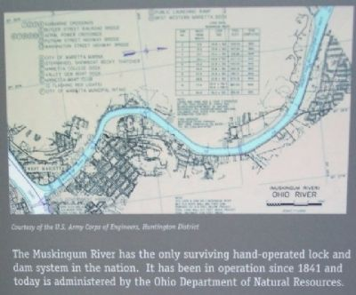 Muskingum River Diagram on Mighty River Marker image. Click for full size.