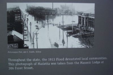 1913 Flood Photo on Mighty River Marker image. Click for full size.