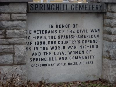 Spring Hill Cemetery Veterans' Memorial Marker image. Click for full size.