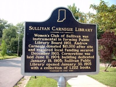 Side A - - Sullivan Carnegie Library Marker image. Click for full size.