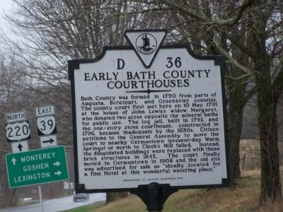 Early Bath County Courthouses Marker image. Click for full size.