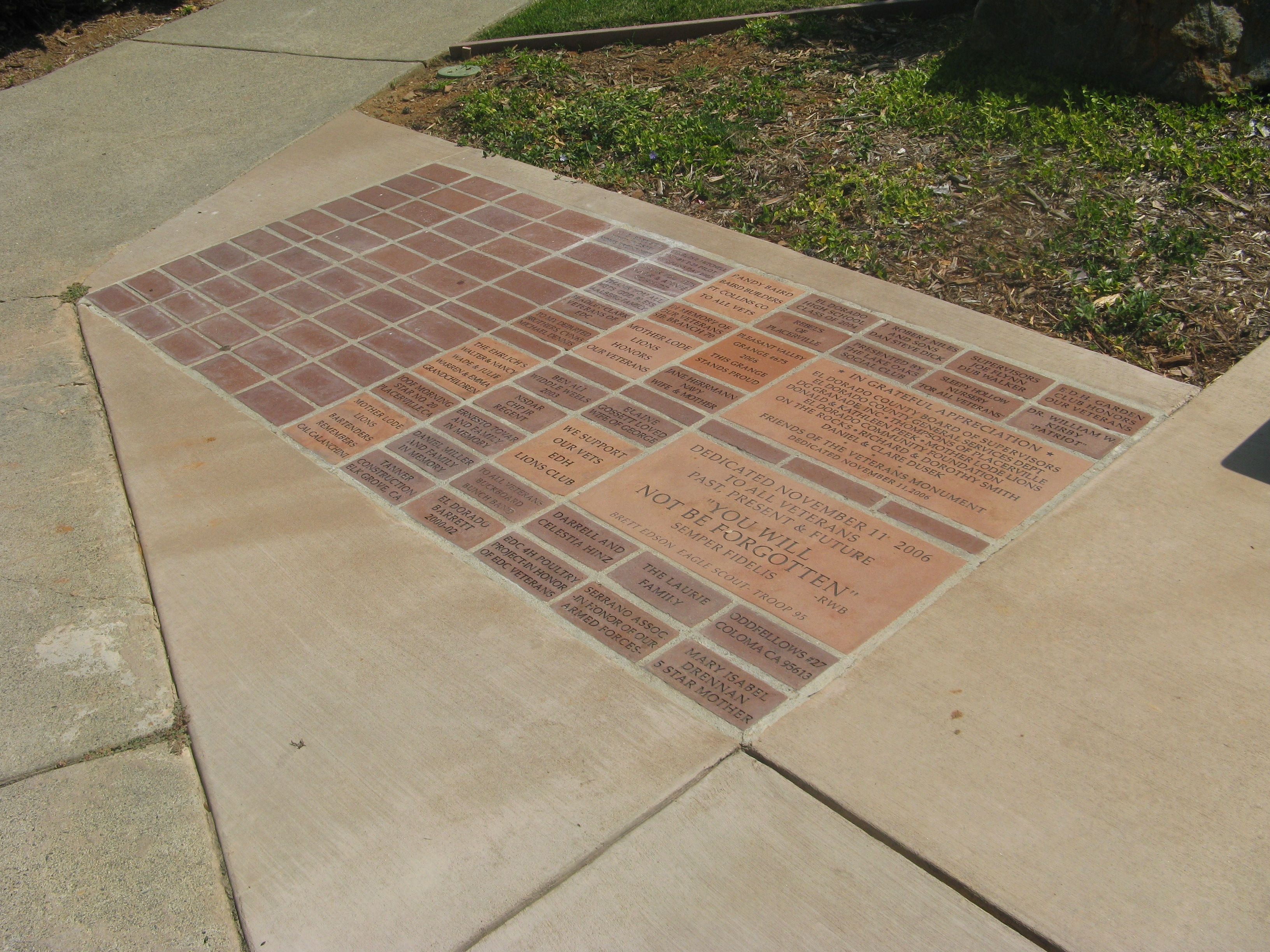 Donor Pavers at Entrance to Monument
