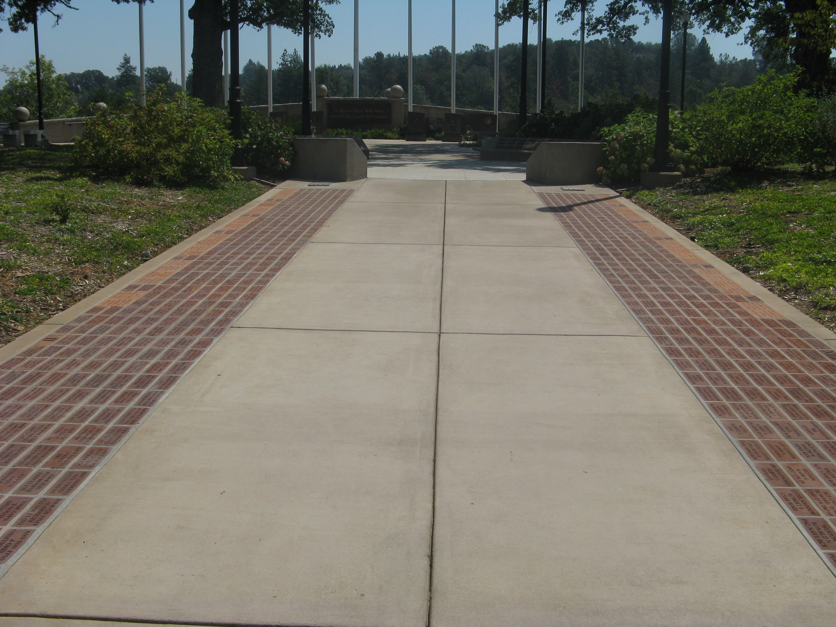 Veteran & Memorial Pavers Line Both Sides of Walkway to Monument