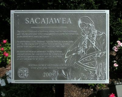 Sacajawea tribute plaque image. Click for full size.