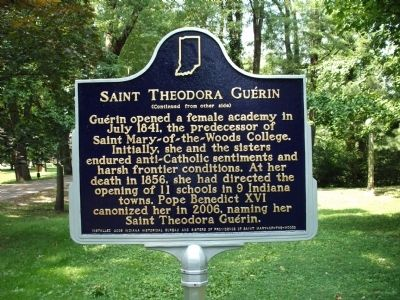 Side B - - Saint Theodora Guerin Marker image. Click for full size.